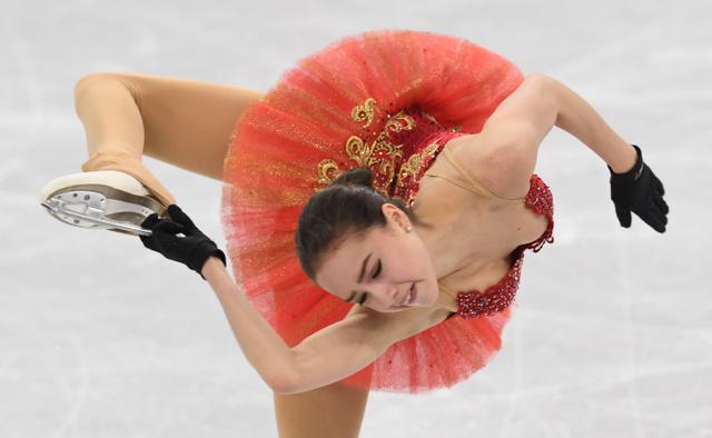 練習するアリーナ・ザギトワ=白井伸洋撮影