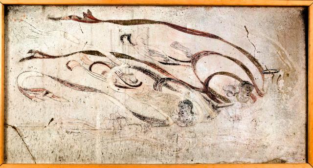 クリーニングを終えた法隆寺金堂の飛天図(16号壁)の高精細画像=法隆寺提供、奈良文化財研究所撮影