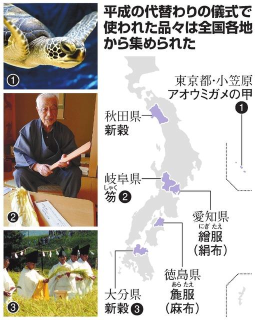 平成の代替わりの儀式で使われた品々は全国各地から集められた