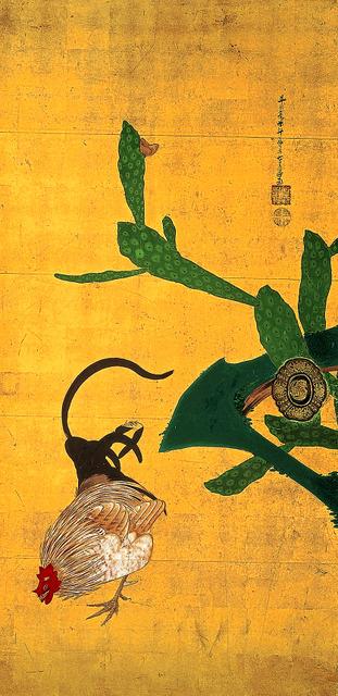 重要文化財 伊藤若冲「仙人掌群鶏図襖」(部分) 江戸時代・18世紀、大阪・西福寺蔵