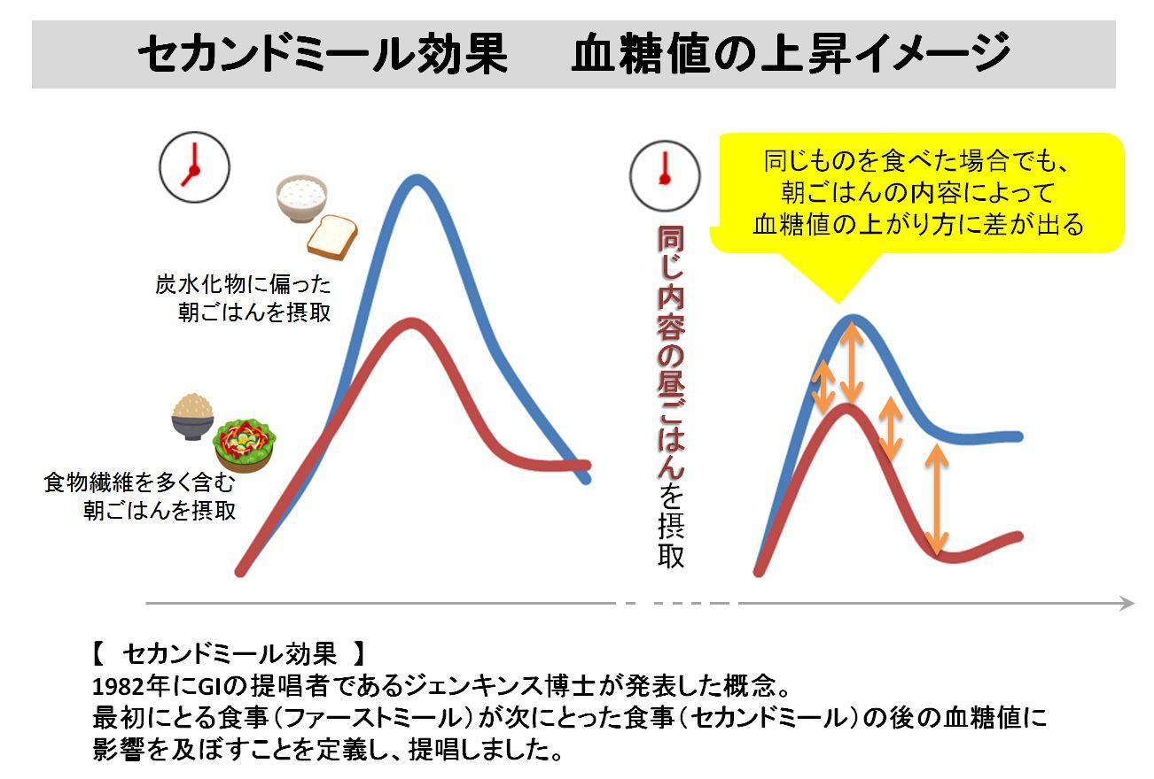 セカンドミール効果 血糖値の上昇イメージ