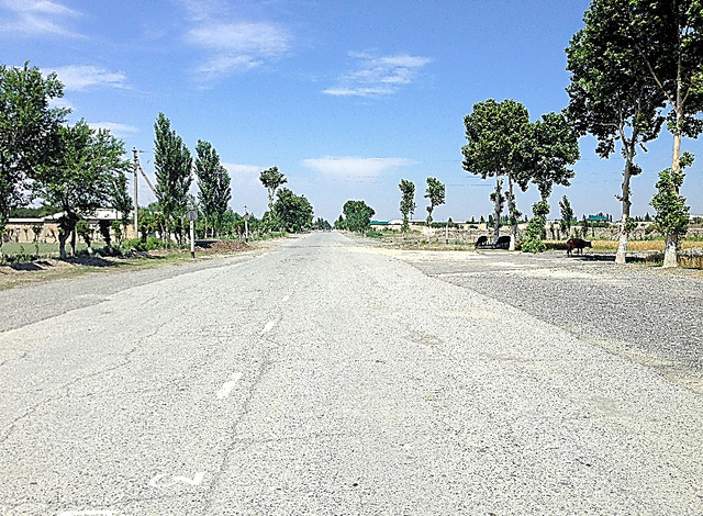 ウズベキスタンとタジキスタンの国境=2015年5月、宮内悠介さん撮影