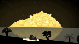 「星が輝く夜に」から、物語の舞台となる島と海
