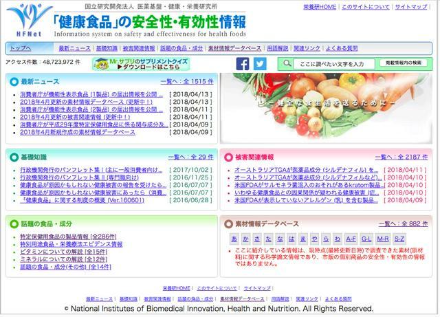 <「健康食品」の安全性・有効性情報>のサイト。国立研究開発法人医薬基盤・健康・栄養研究所が運営している