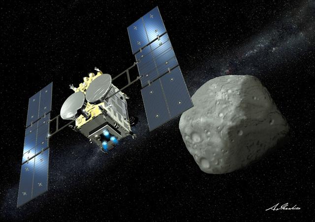 リュウグウに近づく探査機「はやぶさ2」のイメージ(池下章裕さん提供)