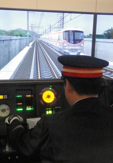 つくばエクスプレスが導入した運転シミュレーター=つくばエクスプレス守谷駅構内