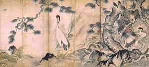 雪舟等楊「四季花鳥図屏風(右隻)」(重要文化財、15世紀、京都国立博物館蔵)6日まで展示