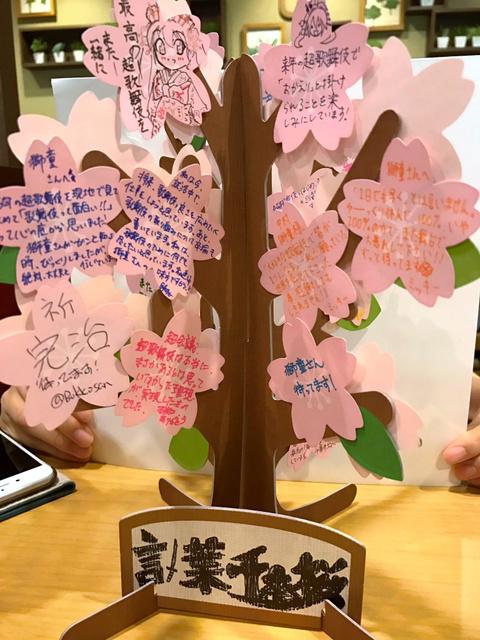 がんを公表した中村獅童さんに超歌舞伎ファンたちが贈った桜の木と花の形のメッセージカード。獅童さんは病室に飾って心の励みにしたという(ファン提供)