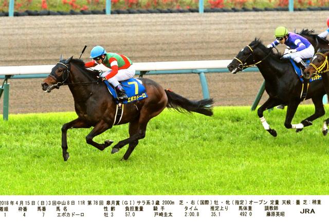 皐月賞でゴールに向かうエポカドーロ(左)(JRA提供)