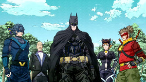 「ニンジャバットマン」のバットマン(中央)と仲間たち Batman and all related characters and elements are trademarks of and (C)DC Comics. (C)Warner Bros. Japan LLC