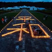 あす沖縄で「慰霊の日」 平和の文字、ろうそくの灯で