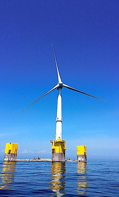 浮体式洋上風力発電で最大の「ふくしま新風」=福島県沖