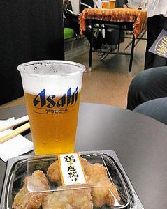 生ビール&鶏のから揚げ@京阪中之島駅
