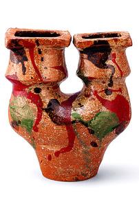 「三色打薬双頭扁壺」 個人蔵=白石和弘撮影