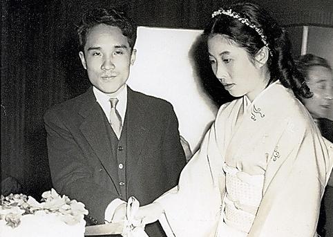 岸田衿子さんとの結婚披露宴で=本人提供