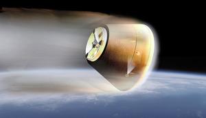 大気圏に再突入する小型回収カプセルのイメージ=JAXA提供