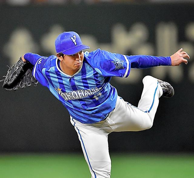 力投するDeNAの東=日刊スポーツ