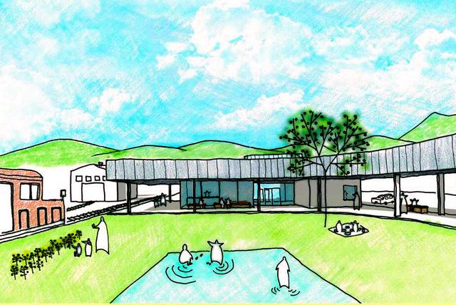 選定された事業者が示したイメージ。公園のような広いプラットホームが特徴だ=熊本県建築課提供