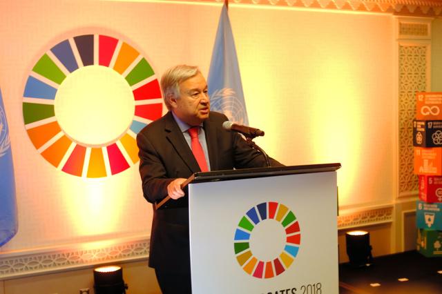国連のグテーレス事務総長は、SDGsの実現に向けて取り組みを加速化させなければならないと警鐘を鳴らした=23日、国連本部、梅原季哉撮影