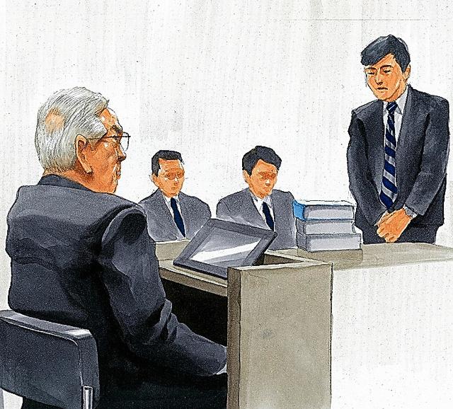 被告人質問に臨む東京電力の武藤栄・元副社長(左)=東京地裁、絵と構成・小柳景義