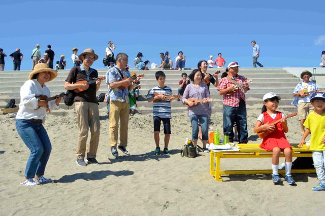 海辺でウクレレを楽しむ「ハマレレ」=2018年9月、仙台市若林区荒浜