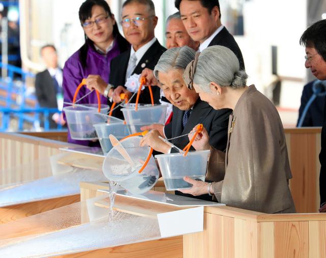 イシダイの稚魚を海に放流する天皇、皇后両陛下=2018年10月28日午後3時25分、高知県土佐市、嶋田達也撮影