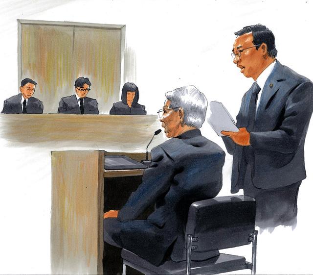被告人質問に答える東京電力の勝俣恒久・元会長(手前)=30日、東京地裁、絵と構成・小柳景義