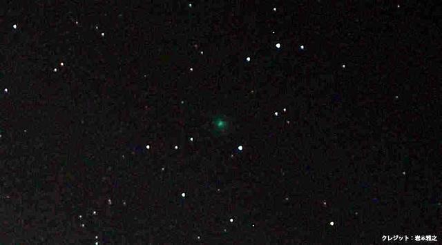 見つかった彗星(中央にある緑色の点)。緑色に見えるのは、本体を取り巻く細かな氷のためという=2018年11月8日午前5時11分、徳島県阿波市、岩本雅之さん撮影