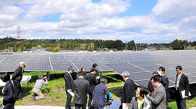 ESG投資は再生可能エネルギーなどに向かう=福島県富岡町