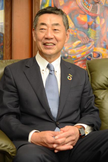 2025年万博への期待を語る更家悠介・サラヤ社長=大阪市東住吉区、サラヤ本社