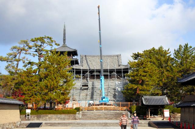 4年ぶりに姿を現しつつある中門=2018年11月29日午前、奈良県斑鳩町の法隆寺、小滝ちひろ撮影