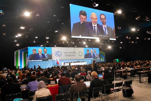 2日に開幕した国連気候変動枠組み条約締約国会議(COP24)=2日、ポーランド南部カトビツェ、神田明美撮影