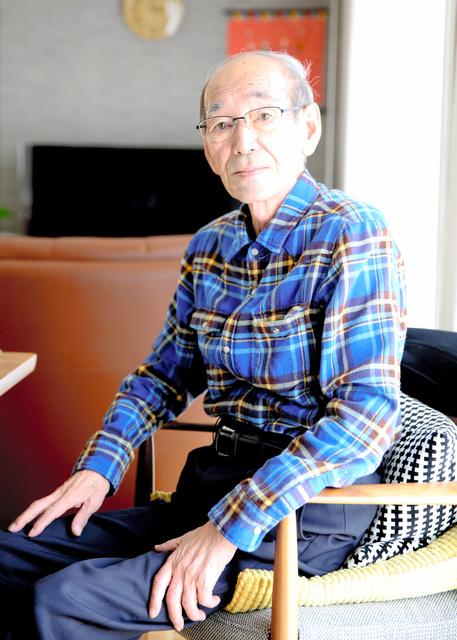 取材に応じる馬場有・前浪江町長。2回目の面会時に撮影した=4月13日、福島県浪江町