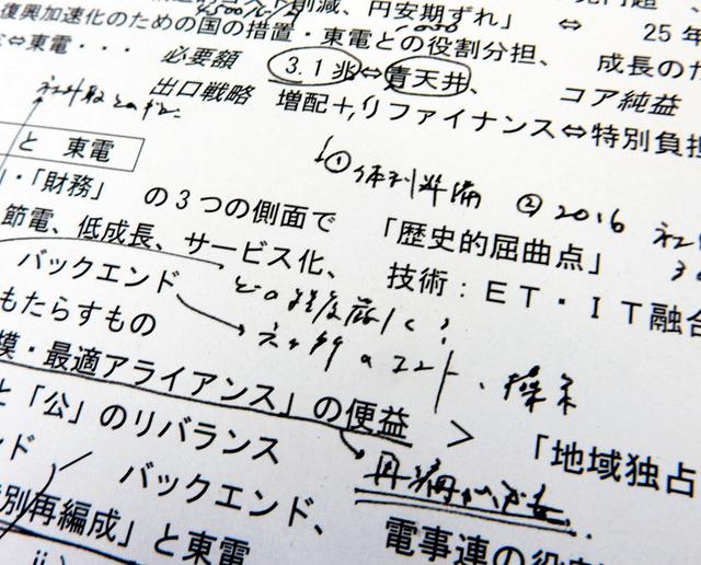 東京電力の取締役兼執行役となった嶋田隆氏(現・経済産業事務次官)が支店を巡回して話したときの手元メモのコピー