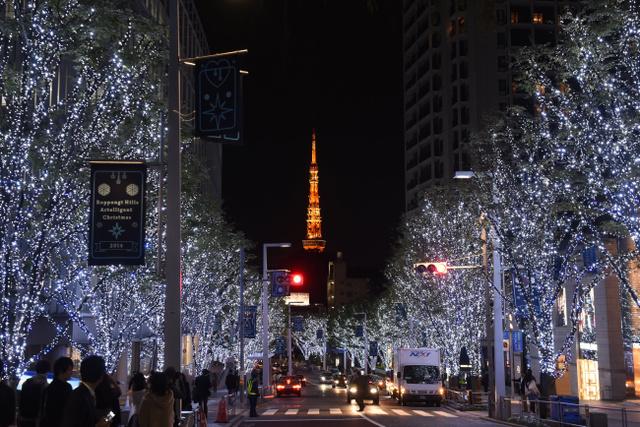クリスマスムードを高める東京・六本木のイルミネーション=2014年11月、白井伸洋撮影