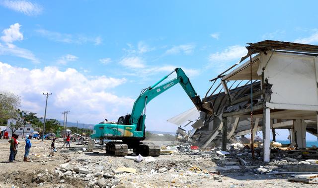 津波で被害を受けたパルの沿岸部。被災後に更地に整備され、復興計画案では建築禁止区域となる予定だ=2018年10月24日、野上英文撮影