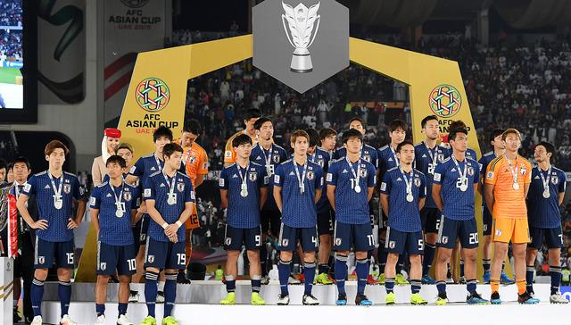 アジア杯で準優勝となった日本代表の選手たち=伊藤進之介撮影