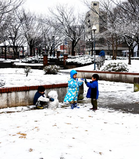 雪だるまを作る子どもたち=2019年2月9日午後1時6分、千葉市中央区、松本江里加撮影