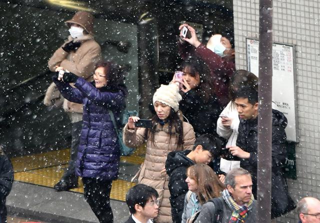都心を舞う雪に、思わず写真におさめようとする観光客たちの姿が見られた=2019年2月15日午前11時56分、東京都中央区、仙波理撮影