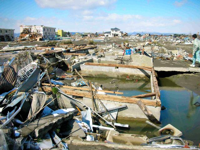 津波で建物が流失した閖上保育所跡(2011年3月18日、宮城県名取市閖上6丁目、名取市提供)