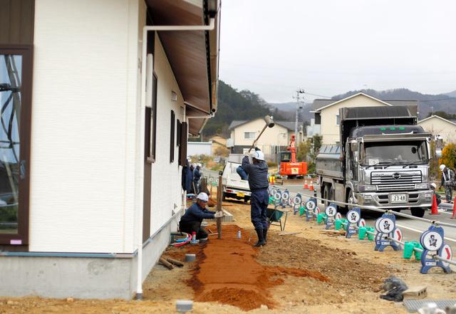 避難指示が解除された大川原地区では、災害公営住宅などの建設が急ピッチで進められている=大熊町大川原地区