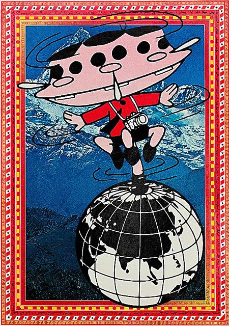 これが赤塚不二夫さんによる「カメラ小僧」。『カメラ小僧の世界旅行』(晶文社)から (C)赤塚不二夫