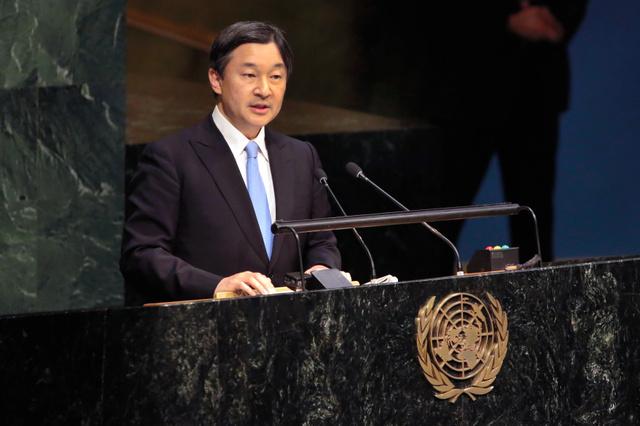 「人と水とのより良い関わりを求めて」と題し、2015年11月にも国連本部で英語でスピーチした=AP