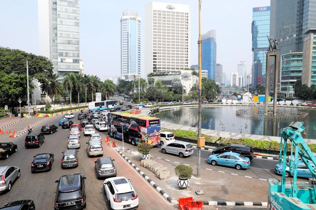インドネシア首都ジャカルタの中心部=2018年7月29日、野上英文撮影