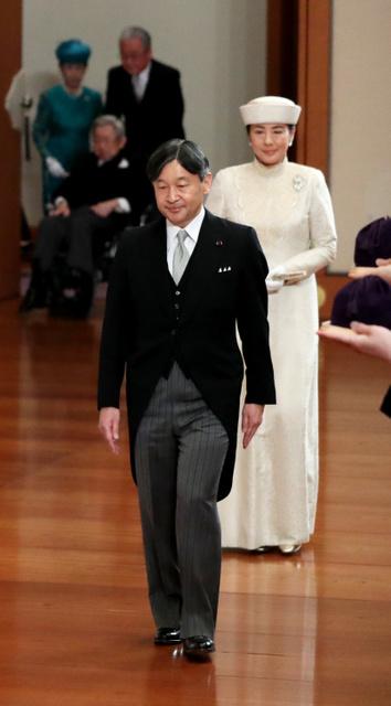 「退位礼正殿の儀」に臨む皇太子ご夫妻=2019年4月30日午後5時、皇居・宮殿「松の間」、嶋田達也撮影