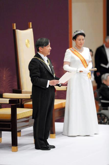 「即位後朝見の儀」で「おことば」を述べる天皇陛下=2019年5月1日午前11時14分、皇居・宮殿「松の間」、代表撮影