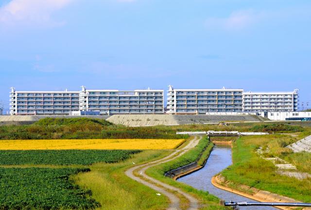 宮城県名取市閖上地区の復興住宅群
