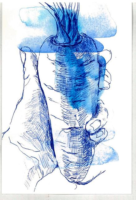 青く見えたときのニンジンの色を絵で再現した(本人提供)