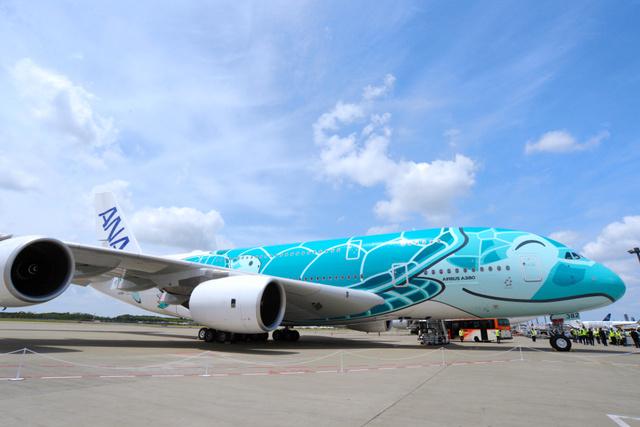 到着した2号機はエメラルドグリーンのウミガメがモチーフ=2019年5月18日午前11時48分、千葉県成田市の成田空港、根岸敦生撮影