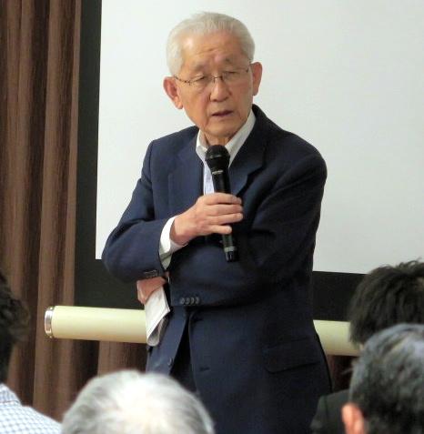 エネルギー政策を語る南直哉・元東電社長=24日午後8時9分、東京・九段